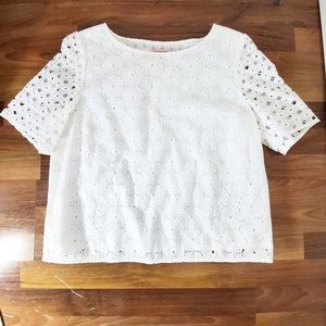 BROOKS BROTHERS Red Fleece White Cotton Eyelet Top